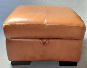 Tan leather footstool pouffe with storage... Large Storage Footstool..