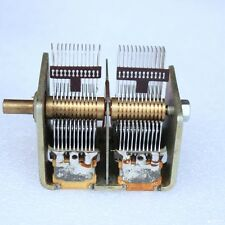 1pc Broadcast Dual Gang Dual-unit Air Dielectric Variable Capacitor 365+365pF