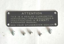 1963-64 STUDEBAKER SUPERCHARGED AVANTI CARTER AFB LID TAG/BLACK LABEL W/RIVETS