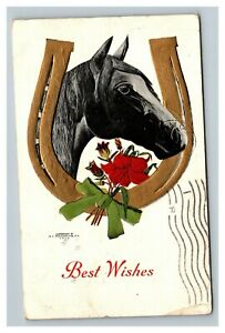 Vintage 1908 Best Wishes Postcard - Giant Horseshoe Thoroughbred Red Flowers