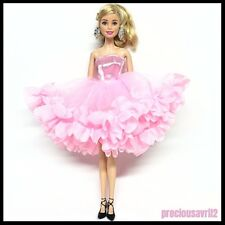 New Barbie doll clothes outfit princess wedding dress gown pink.