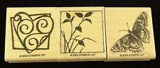 Stampin' Up! 2004 3 Piece Wood Mounted Stamp Set ~ Butterfly, Heart, & Nature
