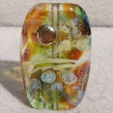 LYCEUM Handmade Art Glass Focal Bead Flaming Fools Lampwork Art Glass SRA