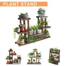 Multi Tier Plant Stand Flower Rack Shelf Outdoor Indoor Garden Corner Wood Stand
