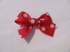 Red with White Polka Dots Dog Puppy Pet Hair Bow Ribbon on Alligator Clip