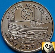1990 Raro isla de man IOM £ 5 cinco libras Elan Vannin barco de pesca moneda UNC