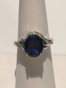 NWT BLUE SAPPHIRE, WHITE ZIRCON RING SIZE 7 (5.20 CTW) 925 STERLING SILVER