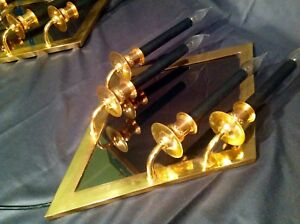 2 Antique Mid Century Sconces gold gilded 4 lights high black candles mirror