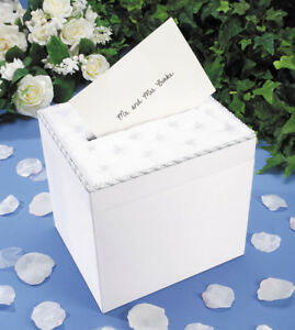 Wedding Satin Card Box With Crystal Flip Top Opening White