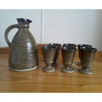 Eric Stockl Helyg Pottery Jug and 6 Goblets British Studio Art Pottery