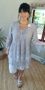 Shirt Tunic Blouse Oversized Lagenlook Lace Bell Sleeve 14 16 18 Silver Grey