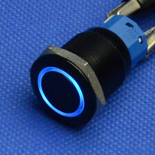 19mm 12V blue Led 5 Pins black Push Button Angel Eye Metal Momentary Switch car