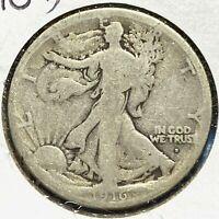 1916-D 50C Walking Liberty Half Dollar, SEMI-KEY DATE! (59021)
