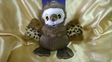 PLUSH 'OWL' DOG TOY with Crinkly Ears, Squeaker & Faux Fur Trim ~ Last One