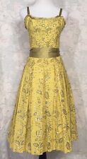 Yoana Baraschi FIT&FLARE Sequined Floral Tea length Mustard Yellow Midi Dress S
