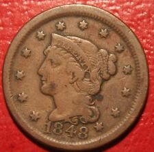 1848 , Large Cent Penny Braided Hair , US Coin ,  FINE , Free Shipping!