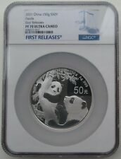 NGC PF70 First Release China 2021 Panda Commemorative Silver 150g Blue Lable