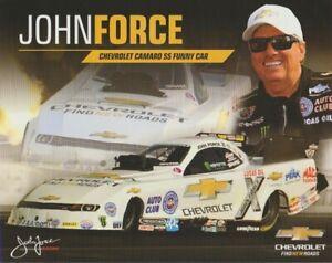 "2015 John Force ""White"" Chevy Camaro FC U.S. Nationals Indy NHRA Hero Card"