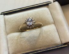 Beautiful Ladies Vintage 9 Carat Gold Blue Topaz & Diamond Ring Pretty - O