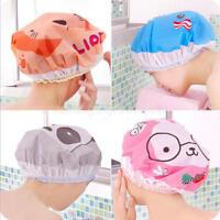 2pcs Elastic PVC Waterproof Cartoon Animal Shower Bathing Lace Hair Cap Hat