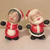 Vintage Lot of 2 Figurines Santa Mrs Claus 1969 Barbara Baldwin Ceramic FS!