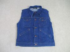 Wrangler Vest Adult Extra Large Blue Denim Jean Coat Jacket Sleeveless Mens *