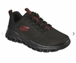 Skechers Shoes Mens Sneakers Black Memory Foam walking-run Glide-Step  Fasten Up