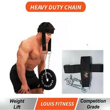 NEW HEAVY DUTY GYM WEIGHT LIFTING HEAD NECK STRENGTH HARNESS CHAIN STRAP FITNESS