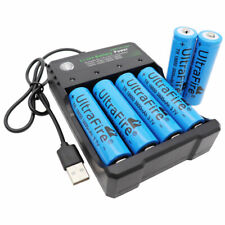 6pcs Battery 18650 Li-ion 3800mAh 3.7V Rechargeable & USB Charger For Flashlight