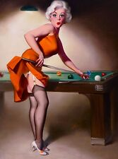 1940s Pin-Up Girl Shooting Pool Picture Poster Print Vintage Art Pin Up
