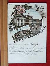 Farblitho - Gruss aus Olmütz / Olomouc - Hotel Lauer , Theater - gel 1897  m1