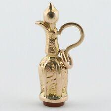 Antique Victorian 9k 9ct Gold Teapot Pot Vessel Carnelian Agate Charm Pendant