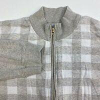 Chereskin Zip Up Sweater Men's 2XL XXL Long Sleeve Gray Tan Check Cotton Blend