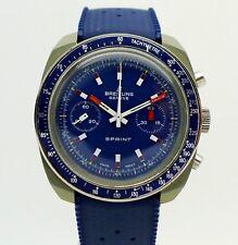 Vintage BREITLING Sprint Chronograph blau Ref. 2016 Fiberglas 40mm Valjoux 7733