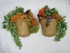 2 Vintage Homco Brown Basket Wall Pocket Hanging Grape Bunches Plastic Lifesize