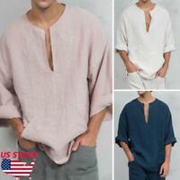 Men's Summer Autumn Long Sleeve Shirts Loose V-neck Linen T-shirt Tops Tee US SZ