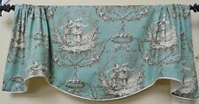 SWEET WILLIAM AQUA-SCALLOPED WINDOW VALANCE W/ FRENCH COUNTRY ROMANTIC TOILE