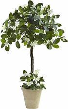 Newl Nearly Natural Stephanotis Madagascar Jasmine Topiary Tree in Beige Planter
