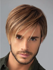 Realistic Men Fashion Brown Short Curly Hair Handsome Male Synthetic Full Wigs