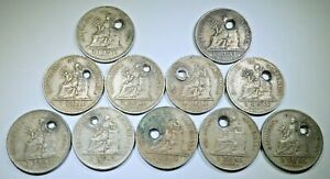 Lot of 11 Holed 1900's Guatemala 1 Reales Antique Genuine Old Guatemalan Coins