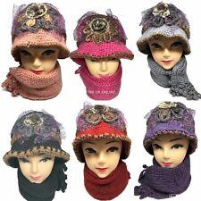 New Women Girls Knitted Faux Fur Woolen Cloche Hat and Scarf Set Warm Winter