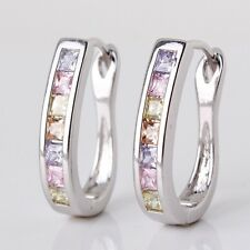 Colorful sapphire Princess horseshoe style 18k white gold filled hoop earring