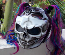Custom Motorcycle Helmet Skull DOT Girls Helmet Cute Ponytails, Helmet for her