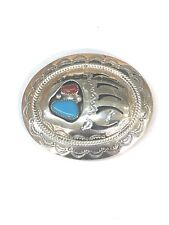 Native American Sterling Silver Handmade Navajo Turquoise & Coral Belt Buckle .