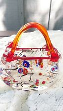 Vintage Murano Glass Hand Blown Purse with Red Orange Handles and Flowers