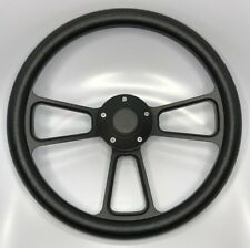 "14"" Black Billet Aluminum Steering Wheel (Black Half Wrap and Horn Button)"