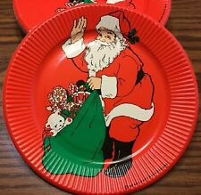 "Vintage Red Santa Christmas Paper Plates 7"" Craft Lot 24 American Greetings 1978"