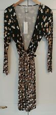 DVF Black/Tan/White Begona Falling Checks Silk Wrap Dress NWT 12 $699