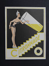 Ancienne étiquette CITRONADE pin up pinup SIROP BELFI french label