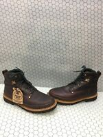 """GEORGIA BOOT 'GIANT 6""""' Brown Leather Lace Up Work Boots Mens Size 11.5 M"""